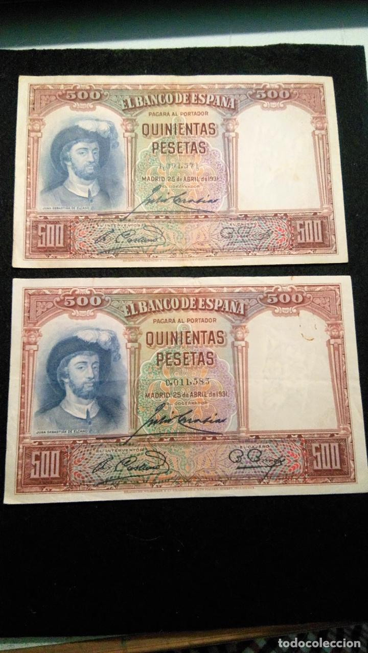 Monedas Franco: 2 BILLETES 500 PESETAS. J.SEBASTIAN. 25.04.1.931 SIN SERIE. NUME MUY BAJA. FOTOS VARIAS Y DESCRIP - Foto 2 - 64778119