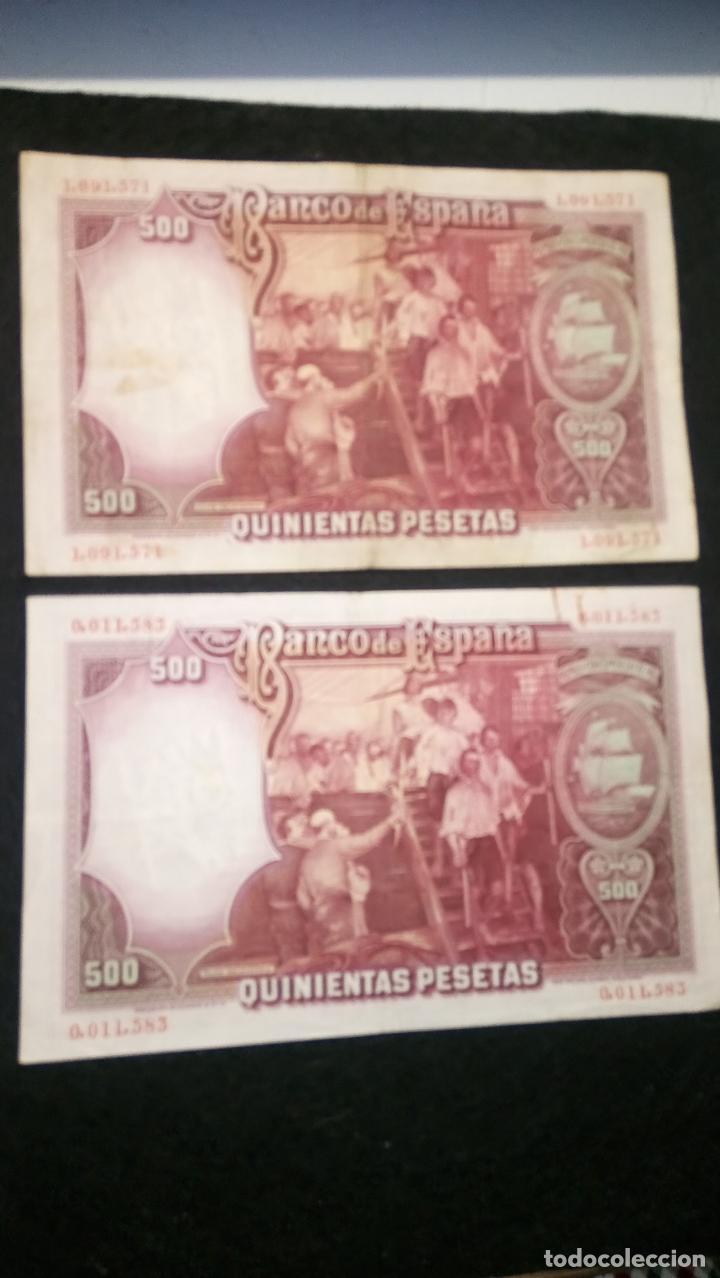 Monedas Franco: 2 BILLETES 500 PESETAS. J.SEBASTIAN. 25.04.1.931 SIN SERIE. NUME MUY BAJA. FOTOS VARIAS Y DESCRIP - Foto 3 - 64778119