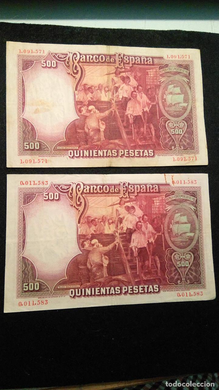 Monedas Franco: 2 BILLETES 500 PESETAS. J.SEBASTIAN. 25.04.1.931 SIN SERIE. NUME MUY BAJA. FOTOS VARIAS Y DESCRIP - Foto 4 - 64778119