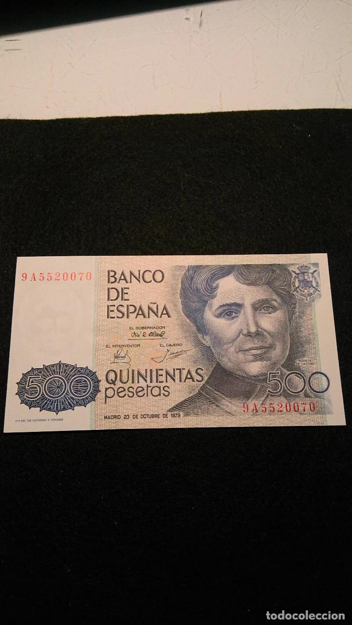 Monedas Franco: BILLETE 500 PESETAS. ROSALIA D.C. 1.979 SERIE ESPECIAL 9 A. AUTENTICO. FOTOS Y DESCRIPCION. - Foto 2 - 64831959