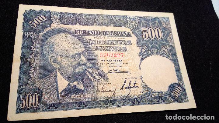 Monedas Franco: BILLETE 500 PESETAS. MARIANO B. 1.951. SIN SERIE 3660227. BUEN ESTADO. FOTOS Y DESCRIPCION. - Foto 2 - 64835375