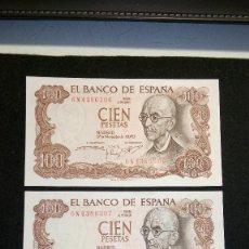 Monedas Franco: TRIO CORRELATIVO. BILLETES 100 PESETAS. MANUEL DE F. 1.970. COLECCION. NO CIRCULARON. FOTOS Y DESC. Lote 64854779