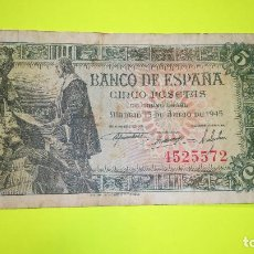 Monedas Franco: BILLETE DE 5 PESETAS. 15.06.1.945 SIN SERIE 4.525.572 FOTOS VARIAS Y DESCRIPCION.. Lote 64906819
