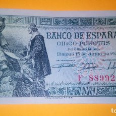 Monedas Franco: BILLETE DE 5 PESETAS. 15.06.1.945 SERIE F 889.924 BUEN ESTADO. AUTENTICO. DESCRIP. Y FOTOS.. Lote 65024699