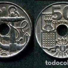 Monedas Franco: ESPAÑA 50 CENTIMOS AÑO 1949 *1952 ( TIMON Y ANCLA MARINERA - MONEDA DEL FRANQUISMO ) Nº6. Lote 154212949