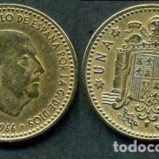 Monedas Franco: ESPAÑA 1 PESETA AÑO 1966 *1967 ( GENERAL DICTADOR FRANCISCO FRANCO - MONEDA DEL FRANQUISMO ) Nº5. Lote 69663441