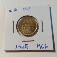 Monedas Franco: MONEDA DE 1 PESETAS DE 1966 ESTRELLA 74 DEL ESTADO ESPAÑOL. DORADA. ENCARTONADA. SIN CIRCULAR.. Lote 69809469