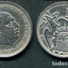 Monedas Franco: ESPAÑA 5 PESETAS AÑO 1957 *1963 ( GENERAL DICTADOR FRANCISCO FRANCO - MONEDA DEL FRANQUISMO ) Nº4. Lote 71630515