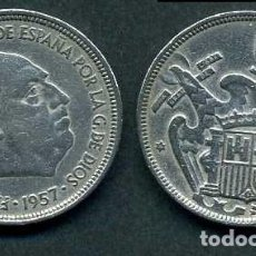 Monedas Franco: ESPAÑA 5 PESETAS AÑO 1957 *1959 ( GENERAL DICTADOR FRANCISCO FRANCO - MONEDA DEL FRANQUISMO ) Nº10. Lote 71694423