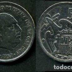 Monedas Franco: ESPAÑA 5 PESETAS AÑO 1957 *1958 ( GENERAL DICTADOR FRANCISCO FRANCO - MONEDA DEL FRANQUISMO ) Nº11. Lote 71695095