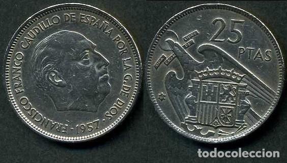 ESPAÑA 25 PESETAS AÑO 1957 *1961 ( GENERAL DICTADOR FRANCISCO FRANCO - MONEDA DEL FRANQUISMO ) Nº7 (Numismática - España Modernas y Contemporáneas - Estado Español)