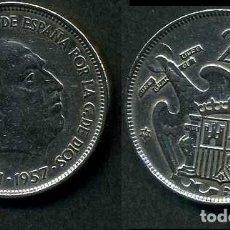 Monedas Franco: ESPAÑA 25 PESETAS AÑO 1957 *1959 ( GENERAL DICTADOR FRANCISCO FRANCO - MONEDA DEL FRANQUISMO ) Nº7. Lote 72026263