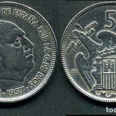 Monedas Franco: ESPAÑA 50 PESETAS AÑO 1957 *1960 ( GENERAL DICTADOR FRANCISCO FRANCO - MONEDA DEL FRANQUISMO ) Nº3. Lote 72122279