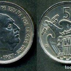 Monedas Franco: ESPAÑA 50 PESETAS AÑO 1957 *1960 ( GENERAL DICTADOR FRANCISCO FRANCO - MONEDA DEL FRANQUISMO ) Nº4. Lote 72122323