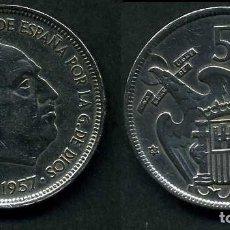 Monedas Franco: ESPAÑA 50 PESETAS AÑO 1957 *1960 ( GENERAL DICTADOR FRANCISCO FRANCO - MONEDA DEL FRANQUISMO ) Nº8. Lote 72122487