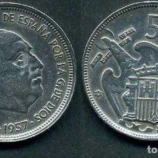 Monedas Franco: ESPAÑA 50 PESETAS AÑO 1957 *1960 ( GENERAL DICTADOR FRANCISCO FRANCO - MONEDA DEL FRANQUISMO ) Nº10. Lote 72122519