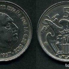 Monedas Franco: ESPAÑA 50 PESETAS AÑO 1957 *1959 ( GENERAL DICTADOR FRANCISCO FRANCO - MONEDA DEL FRANQUISMO ) Nº9. Lote 72133223