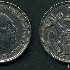 Monedas Franco: ESPAÑA 50 PESETAS AÑO 1957 *1958 ( GENERAL DICTADOR FRANCISCO FRANCO - MONEDA DEL FRANQUISMO ) Nº9. Lote 72196343