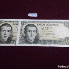Monedas Franco: PAREJA CORRELATIVA 5 PESETAS BALMES, 1951, S.C. Lote 73703191