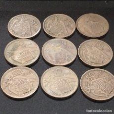 Monedas Franco: 9 MONEDAS DE 50 PTS 1957 *58. Lote 74239695