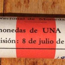 Monedas Franco: ANTIGUO CARTUCHO DE LA FNMT - 50 MONEDAS UNA 1 PESETA - EMISION 1963 - AÑO MONEDA 1966 ESTRELLA 19 7. Lote 79622765
