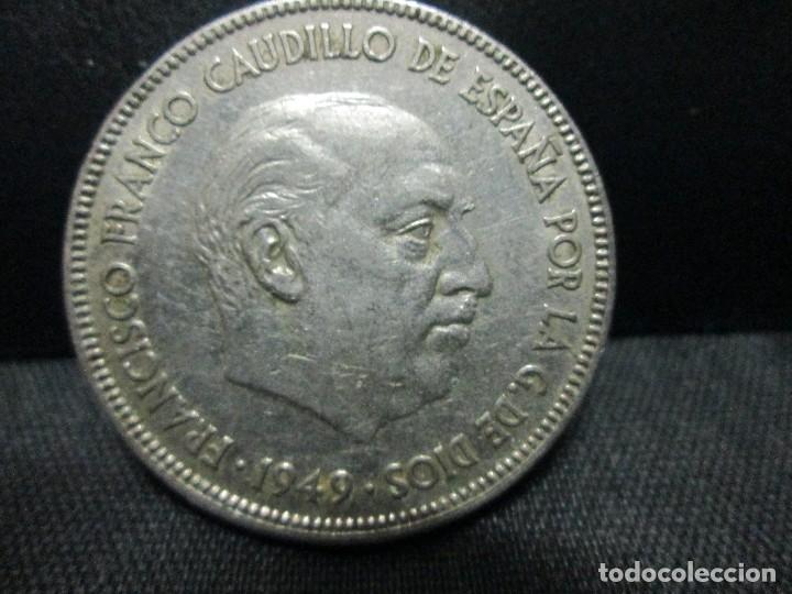 Monedas Franco: 5 pesetas 1949 estrellas 19 49 - Foto 2 - 80100725