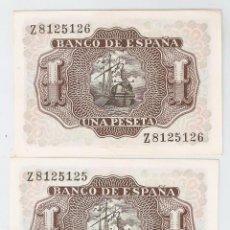 Monedas Franco: 2 BILLETES,,,,,,,,,, DE 1 PESETA CON NÚMEROS CORRELATIVOS. Lote 80884727