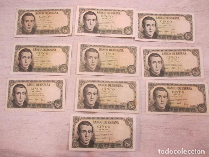 LOTE DE 10 BILLETES CINCO 5 PESETAS 1951 - JAIME BALMES - SERIES CON LETRA - CORREO 1€ (Numismática - España Modernas y Contemporáneas - Estado Español)