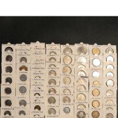 Monedas Franco: LOTE 84 MONEDAS FRANCO Y JUAN CARLOS I TODAS DISTINTAS EN CARTONCILLOS. Lote 86324772