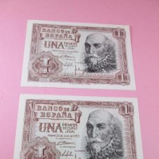 Monedas Franco: LOTE 2 BILLETES-1 PESETA-MADRID 22 JULIO 1953-CORRELATIVOS-PLANCHA-VER FOTOS.. Lote 87011112
