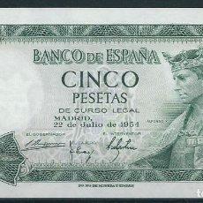 Monedas Franco: BILLETE DE 5 PESETAS 22 DE JULIO DE 1954 SERIE Q EN PLANCHA. Lote 87706464