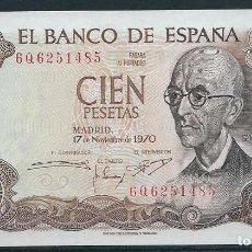 Monedas Franco: BILLETE DE 100 PESETAS 17 DE NOVIEMBRE DE 1970 SERIE 6Q EN PLANCHA . Lote 87707136