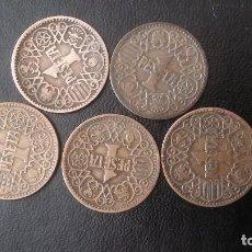 Monedas Franco: LOTE DE 5 MONEDAS DE 1 PESETA 1944 LA DEL UNO. Lote 89483924