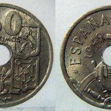 Monedas Franco: ESTADO ESPAÑOL 50 CENTIMOS 1949 ERROR FLECHAS INVERTIDAS. Lote 92416290