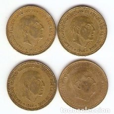 Monedas Franco: A17 - CUATRO MONEDAS DE UNA PESETA DE FRANCO EMISION 1966. Lote 95506555