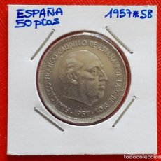 Monedas Franco: MONEDA DE ESPAÑA - 50 PESETAS DEL AÑO 1957 *58 - MBC. Lote 96018071