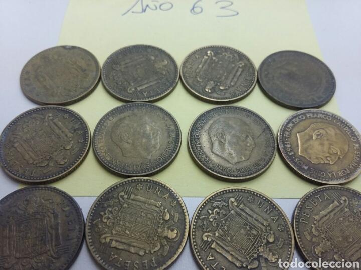 Monedas Franco: Lote 12 monedas 1 peseta - Foto 2 - 96782987