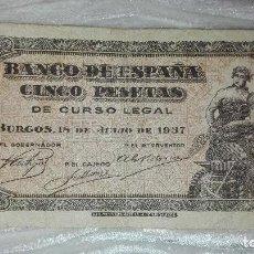 Monedas Franco: BILLETE 5 PESETAS 1937. Lote 97692283