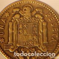 Monedas Franco: EXTRAÑISIMA!!!! 3 ERRORES :DOBLE ACUÑACIÓN Y COSPEL MÁS PEQUEÑO Y FEBLAJE EN 1 PESETA DE 1947 *53. Lote 75939715