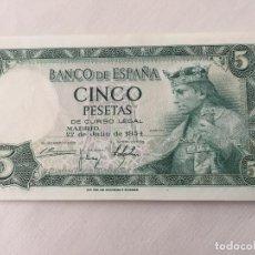 Monedas Franco: BILLETE SIN CIRCULAR DE 5 PESETAS DE 1954. Lote 98120903
