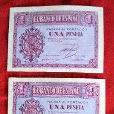 Monedas Franco: TRES BILLETES DE 1 PESETA, DOS SIN CIRCULAR, BURGOS 12 DE OCTUBRE DE 1937. Lote 98816363