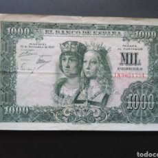 Monedas Franco: BILLETE 1000 PESETAS, 1957-MBC, SERIE 1N.. Lote 98850246