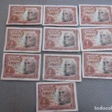 Monedas Franco: LOTE DE 10 BILLETES UNA 1 PESETA 1951 - MARQUES DE SANTA CRUZ - SERIES CON LETRA - CORREO 1€. Lote 98880580