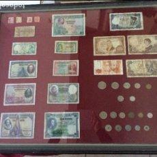 Monedas Franco: CUADRO CON SELLOS, MONEDAS Y BILLETES 65X80 CENTÍMETROS. Lote 99814003
