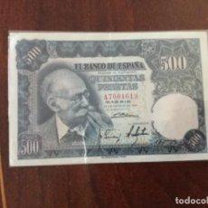 Monedas Franco: BILLETE 500 PESETAS 1951 EBC + SERIE A. Lote 101173975