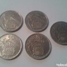 Monedas Franco: LOTE 5 MONEDAS 50 PESETAS PTS 1957 ESTRELLA 60 SC SALIDA 1 EURO. Lote 102851255