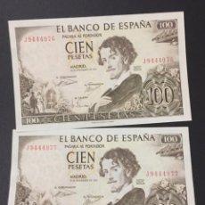 Monedas Franco: 100 PESETAS 1965 BECQUER PAREJA CORRELATIVA SERIES J9444976 Y J9444977. Lote 113535980