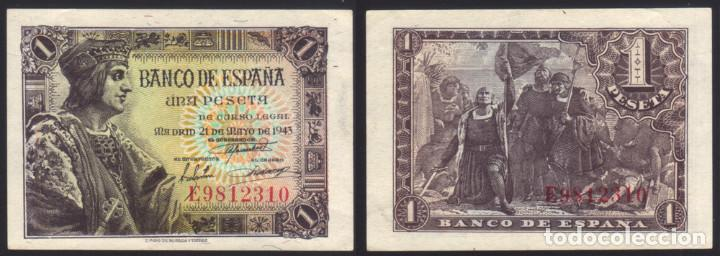 BILLETE ESPAÑA - 1 PESETA - 1943 - NO CIRCULADO (Numismática - España Modernas y Contemporáneas - Estado Español)