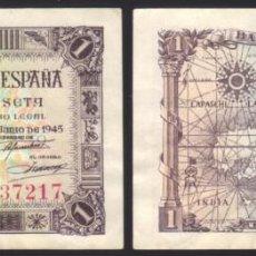 Monedas Franco: BILLETE ESPAÑA - 1 PESETA - 1945 - NO CIRCULADO. Lote 105035371