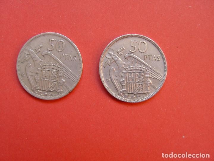 Monedas Franco: Lote 2 MONEDAS: 50 pesetas (1957: *60 y *71) Franco ¡Coleccionista! ¡Originales! - Foto 2 - 107207311